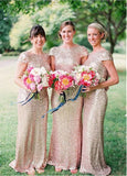 Gorgeous Sequins Lace Bateau Neckline Full Length Sheath Bridesmaid Dress