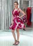Floral Cloth V-neck Neckline V-cut Back A-line Homecoming Dresses With Beadings