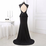 Black Lace High Neck Sheath Column Prom Dress