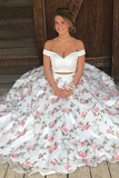 Tulle Off the Shoulder Floral Beautiful White Two Piece Prom Dress