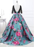 Real Photo Special Lace & Flora Cloth Scoop Neckline 3/4 Length Sleeves Backless Ball Gown Prom Dress