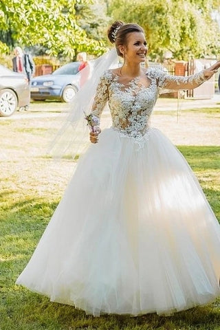 Tulle Lace Appliques Ball Gown Long Sleeve Scoop Wedding Dress