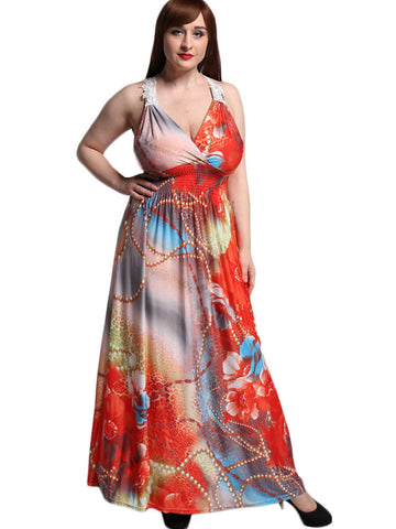 Red V-neck Sleeveless Printed Elastic Waist Bohemian Dresses