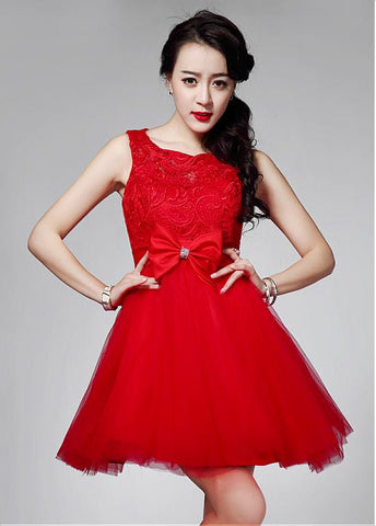 Red Stunning Lace & Tulle Jewel Neckline Short A-line Homecoming Dress