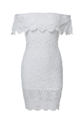 White Off The Shoulder Flounce Ruffles Boat Neck Lace Dress