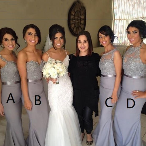 Grey Elastic Satin Bridesmaid Dress