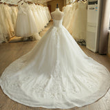 Princess Strapless Applique Lace Wedding Dress