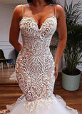 Tulle Spaghetti Straps Champagne Mermaid Wedding Dress With Beadings