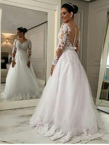 Long Sleeves Tulle Appliques A-Line Wedding Dress