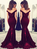 Mermaid Off-the-Shoulder Lace Satin Prom Dress