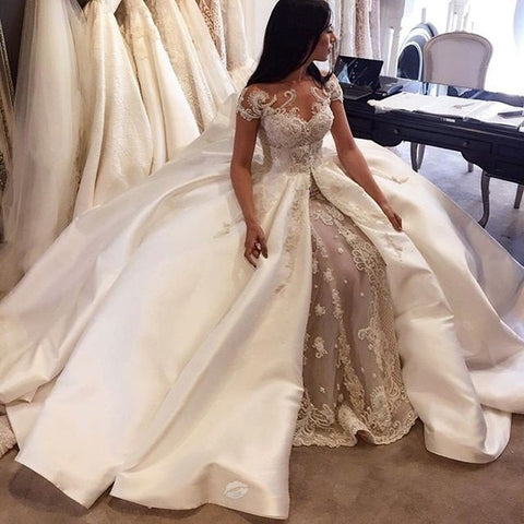 Ball Gown Bateau Sweep Train Satin Wedding Dress with Appliques