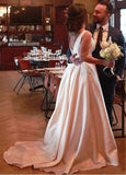 Satin Bateau Bowknot A-line Wedding Dress With Pockets