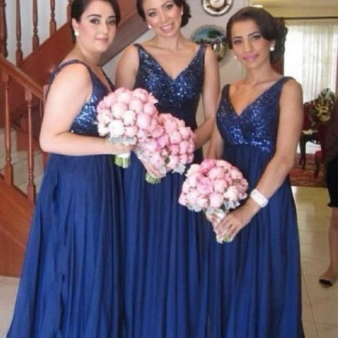 Plus Size Bridesmaid Dress -Royal Blue V-Neck With Sequins