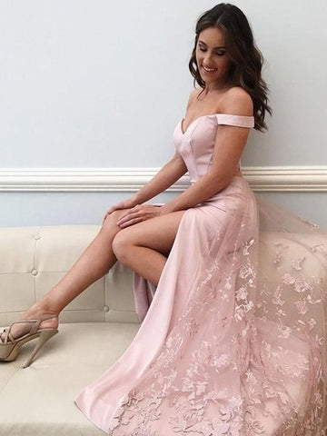 High Slit Sexy Off Shoulder Lace Pink Prom Dress