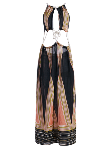 High Slit Halter Printed Maxi Dress