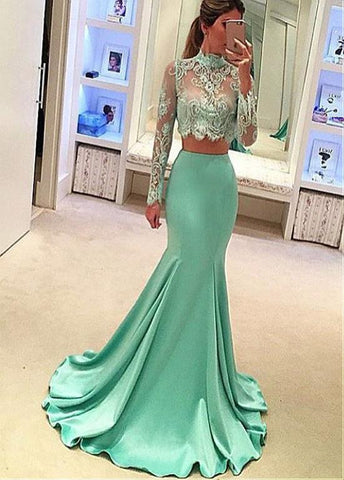 High Collar Two-piece Mermaid Evening Dresses