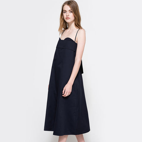 Straps Black Long Causal Dress