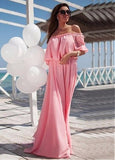 Pongee Off-the-shoulder Prom Dress