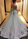 Fabulous Tulle High Collar Ball Gown Evening Dresses