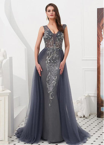Tulle V-neck Beading Navy Floor-length A-line Evening Dress