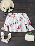 Long Sleeves Floral Off The Shoulder Top