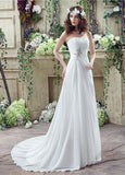Flowing Beach Strapless A-Line Wedding Dresses With Rhinestones