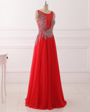 Red Illusion Long Prom Dress