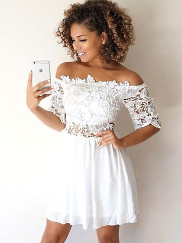 A-Line Chiffon Applique Off-the-Shoulder 1/2 Sleeves Short Mini Homecoming Dress