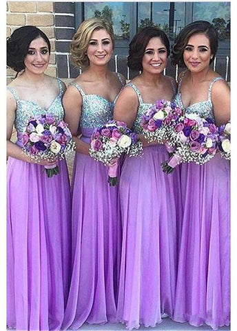 Fabulous Silk-like Chiffon V-neck Neckline A-line Bridesmaid Dresses With Beadings