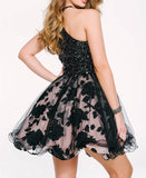 Scoop A Line Beaded Homecoming Dresses