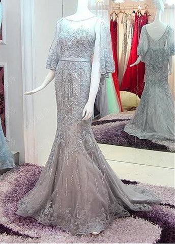Attractive Tulle Bateau Silver Mermaid Evening Dress