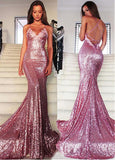 Dazzling Sequin Lace Spaghetti Straps Mermaid Evening Dress