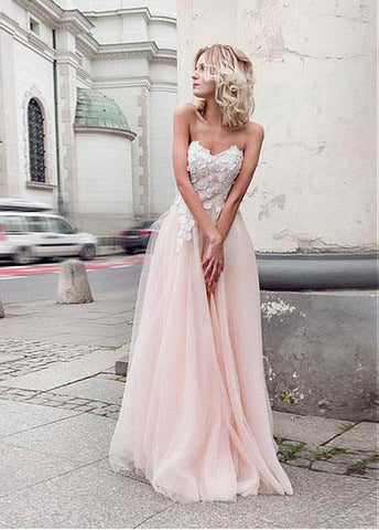 Tulle & Organza Sweetheart Neckline A-line Prom Dresses With 3D Beaded Lace Appliques