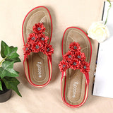 Red Bohemia Clip Toe Soft Beach Flat Slippers