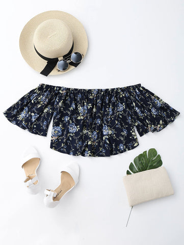 Black Floral Loose Off Shoulder Top