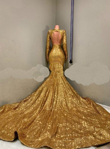 Sequined Mermaid Gold Long Sleeves Sparkle Prom Dress With Long Train Sassymyprom,Plus Size Purple Dress For Wedding Guest