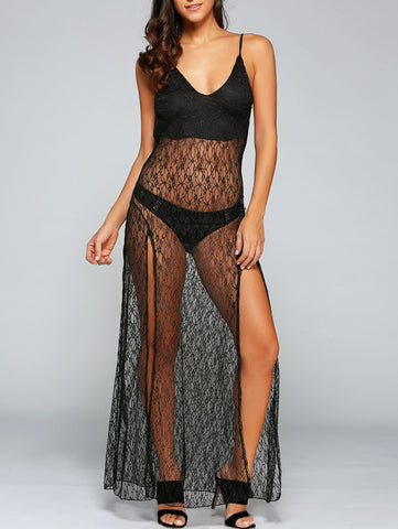 Sexy See-Through Backless Sheer Lace Cami Dress