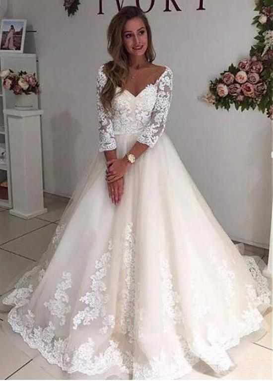 21896e95c41 Tulle V-neck Lace Appliques Long Sleeves A-line Wedding Dress ...