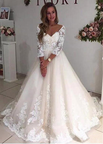 Tulle V-neck Lace Appliques Long Sleeves A-line Wedding Dress