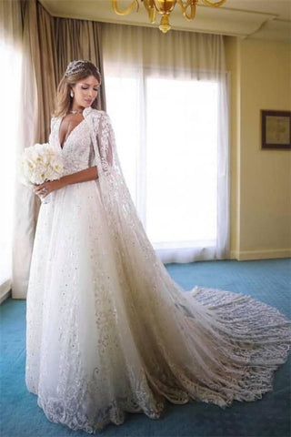 Beads Appliques A-line Lace Cape Straps V-neck Wedding Dress