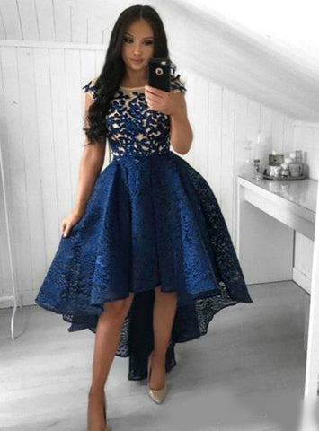 Lace Hi Lo Party Short Navy Blue Prom Homecoming Dress