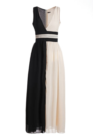Plunging Neck White Black Splicing Dress