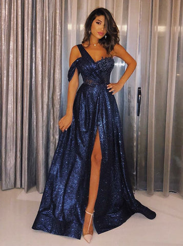 One Shoulder Split Navy Blue Sequin Prom Evening Dress