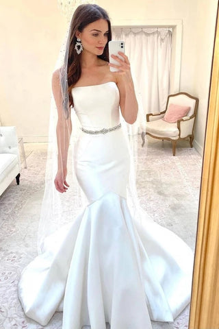 Satin Crystal Mermaid Rhinestones Belt Strapless Wedding Dress