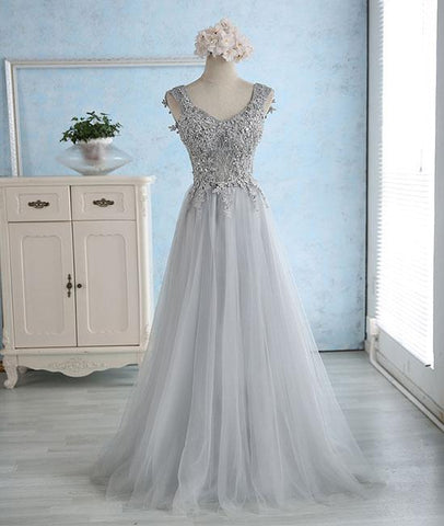 Gray Sweetheart Lace Tulle Long Prom Dress