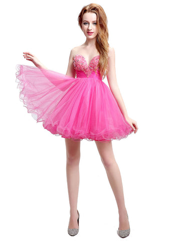Fabulous Tulle Sweetheart Neckline Ball Gown Short Cocktail Dresses With Beadings