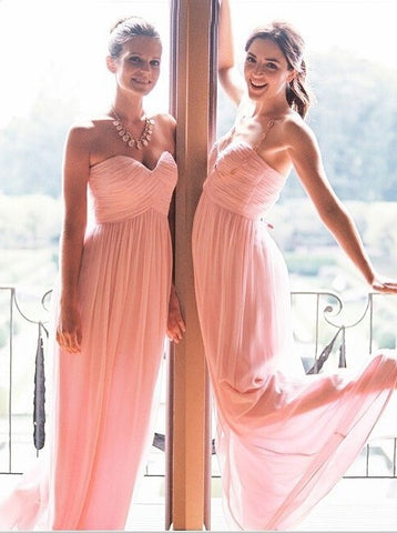Pink Sweetheart Floor Length Ruffles Chiffon Bridesmaid Dress