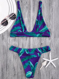 Cute High Cut Banana Leaf Plunge Bikini Set