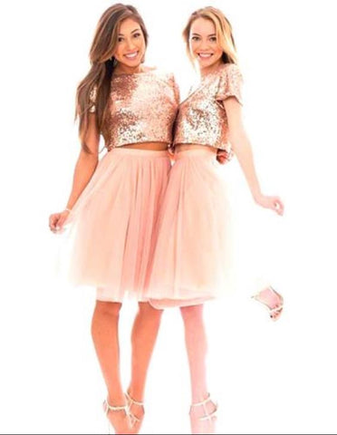 Pink Sequins Two Piece Short Homecoming Dress