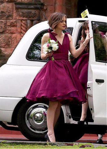 Alluring Taffeta V-neck Short Bridesmaid Dresses